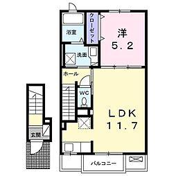 名鉄常滑線 榎戸駅 徒歩12分の賃貸アパート 2階1LDKの間取り