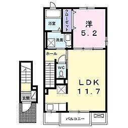 JR武豊線 乙川駅 徒歩9分の賃貸アパート 2階1LDKの間取り
