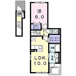 ニューベルトゥリー 2階1LDKの間取り