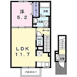 エスポワール 2階1LDKの間取り