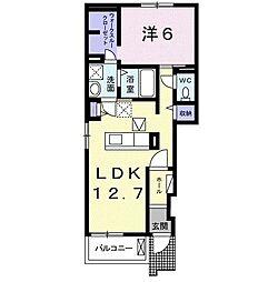 名鉄常滑線 古見駅 徒歩30分の賃貸アパート 1階1LDKの間取り