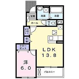 ロコ ソレイユ ドゥ 1階1LDKの間取り