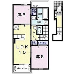 名鉄蒲郡線 三河鹿島駅 徒歩16分の賃貸アパート 2階2LDKの間取り