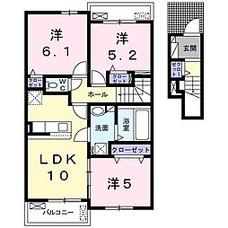 ラ・クリアンサ 2階3LDKの間取り