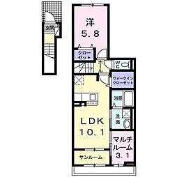 JR東北本線 氏家駅 徒歩3分の賃貸アパート 2階1SLDKの間取り