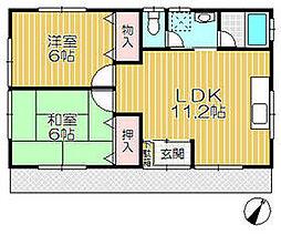 JR鹿島線 潮来駅 徒歩9分の賃貸一戸建て 1階2LDKの間取り