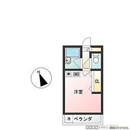 西武池袋線 東長崎駅 徒歩7分の賃貸アパート 2階ワンルームの間取り