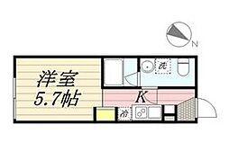 PASEO代田橋 5階ワンルームの間取り