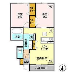 JR水戸線 新治駅 徒歩6分の賃貸アパート 1階2LDKの間取り