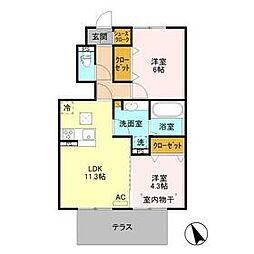 BSvilla B 1階2LDKの間取り