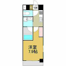 名古屋市営名港線 六番町駅 徒歩4分の賃貸マンション 6階1Kの間取り