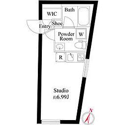 PASEO三軒茶屋EAST 3階ワンルームの間取り