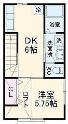 ナリトモ都賀A 2階1Kの間取り