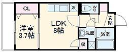 京成本線 京成船橋駅 徒歩14分の賃貸マンション 3階1LDKの間取り