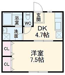 小田急小田原線 本厚木駅 バス15分 子中下車 徒歩3分の賃貸アパート 1階1DKの間取り