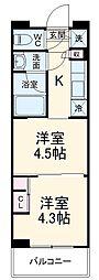 ガーラ・グランディ川崎西口 5階1DKの間取り