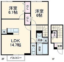 仮)D-room如意申 A棟 2階2LDKの間取り