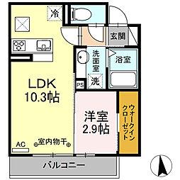 名鉄各務原線 手力駅 徒歩26分の賃貸アパート 3階1LDKの間取り