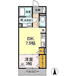 名鉄各務原線 細畑駅 徒歩20分の賃貸アパート 1階1DKの間取り