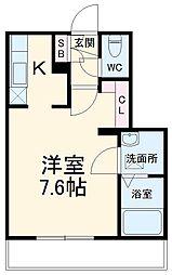 JR総武線 本八幡駅 徒歩10分の賃貸マンション 2階ワンルームの間取り