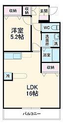 伊豆箱根鉄道駿豆線 三島広小路駅 徒歩19分の賃貸アパート 2階1LDKの間取り