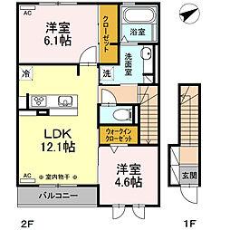 JR御殿場線 長泉なめり駅 徒歩13分の賃貸アパート 2階2LDKの間取り