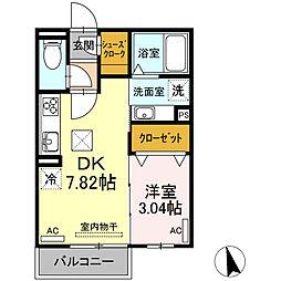 名鉄名古屋本線 岡崎公園前駅 徒歩11分の賃貸アパート 2階1DKの間取り