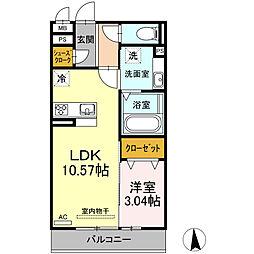 愛知環状鉄道 大門駅 徒歩10分の賃貸アパート 3階1LDKの間取り