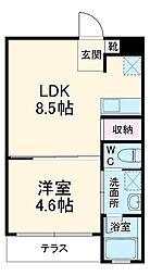 静岡鉄道静岡清水線 日吉町駅 徒歩22分の賃貸マンション 2階1LDKの間取り