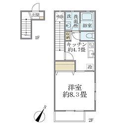 都営三田線 本蓮沼駅 徒歩7分の賃貸テラスハウス 1階1DKの間取り