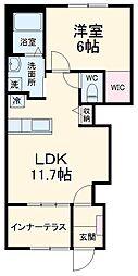 仮)大室新築スターテラスII 1階1LDKの間取り