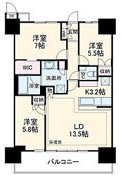 津田沼ザ・タワー 36階3LDKの間取り