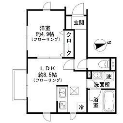 京王井の頭線 富士見ヶ丘駅 徒歩2分の賃貸アパート 1階1LDKの間取り