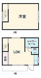JR外房線 上総一ノ宮駅 徒歩30分の賃貸一戸建て 1階1SKの間取り