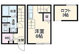 西武新宿線 新所沢駅 徒歩3分の賃貸テラスハウス 1階ワンルームの間取り