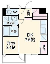 西武池袋線 所沢駅 徒歩16分の賃貸アパート 1階1DKの間取り