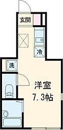 西武国分寺線 恋ヶ窪駅 徒歩9分の賃貸アパート 1階ワンルームの間取り