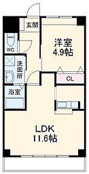 南海線 松ノ浜駅 徒歩16分の賃貸マンション 2階1LDKの間取り