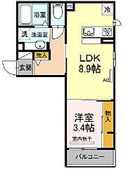 D-room kume 3階1LDKの間取り