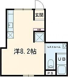 東急東横線 都立大学駅 徒歩15分の賃貸マンション 1階ワンルームの間取り