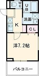 レピュア大鳥居 5階1Kの間取り