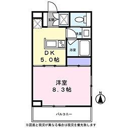 Blanc Ikegami 4階1DKの間取り