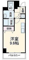 名古屋市営東山線 東山公園駅 徒歩5分の賃貸マンション 5階ワンルームの間取り
