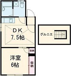 クララハイツ 2階1DKの間取り