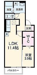 名鉄犬山線 江南駅 徒歩34分の賃貸アパート 1階1LDKの間取り
