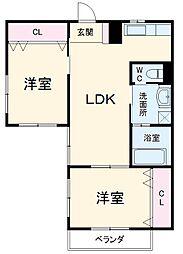 名鉄犬山線 犬山口駅 徒歩7分の賃貸アパート 2階2LDKの間取り