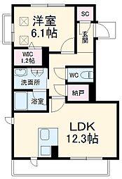 名鉄小牧線 田県神社前駅 徒歩7分の賃貸マンション 3階1LDKの間取り