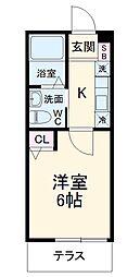 JR横浜線 十日市場駅 徒歩7分の賃貸アパート 3階1Kの間取り