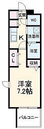 名古屋市営名城線 黒川駅 徒歩4分の賃貸マンション 6階1Kの間取り