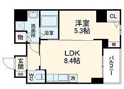名古屋市営桜通線 高岳駅 徒歩5分の賃貸マンション 7階1LDKの間取り